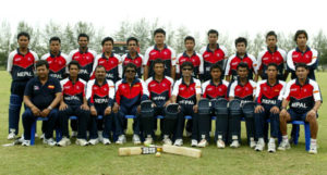 KUALA LUMPUR, MALAYSIA - MARCH 1: Nepal pose for a team photo before the ICC U/19 Cricket World Cup Plate Final match against West Indies held at the Baeyumas Oval on March 1, 2008 in Kuala Lumpur, Malaysia. (Photo by Stanley Chou/Getty Images)